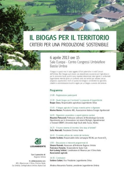 Il Biogas per il territorio @ Sala Europa - Centro Congressi Umbriafiere | Bastia | Umbria | Italia